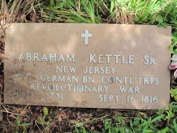 headstone of Abraham Kittle, Rev War Soldier