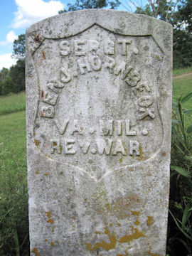 headstone of Benjamin Hornbeck, Rev War Soldier