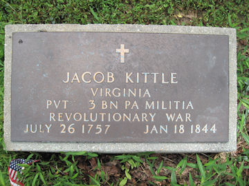 headstone of Jacob Kittle, Rev War Soldier