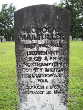 headstone of Nicholas Marstiller, Rev War Soldier