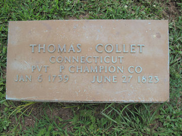 headstone of Thomas Collett, Rev War Patriotic Service