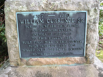 headstone of William Currence, Rev War Patriotic Service