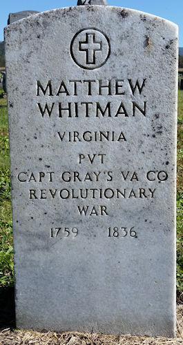 headstone of Pvt. Matthew Whitman, Revolutionary War, after cleaning