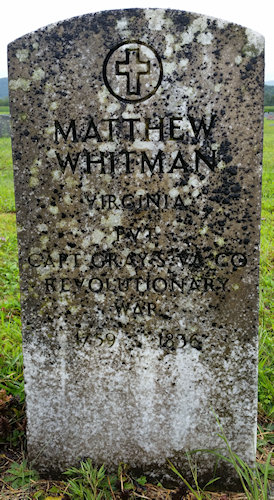 headstone of Pvt. Matthew Whitman, Revolutionary War, before cleaning